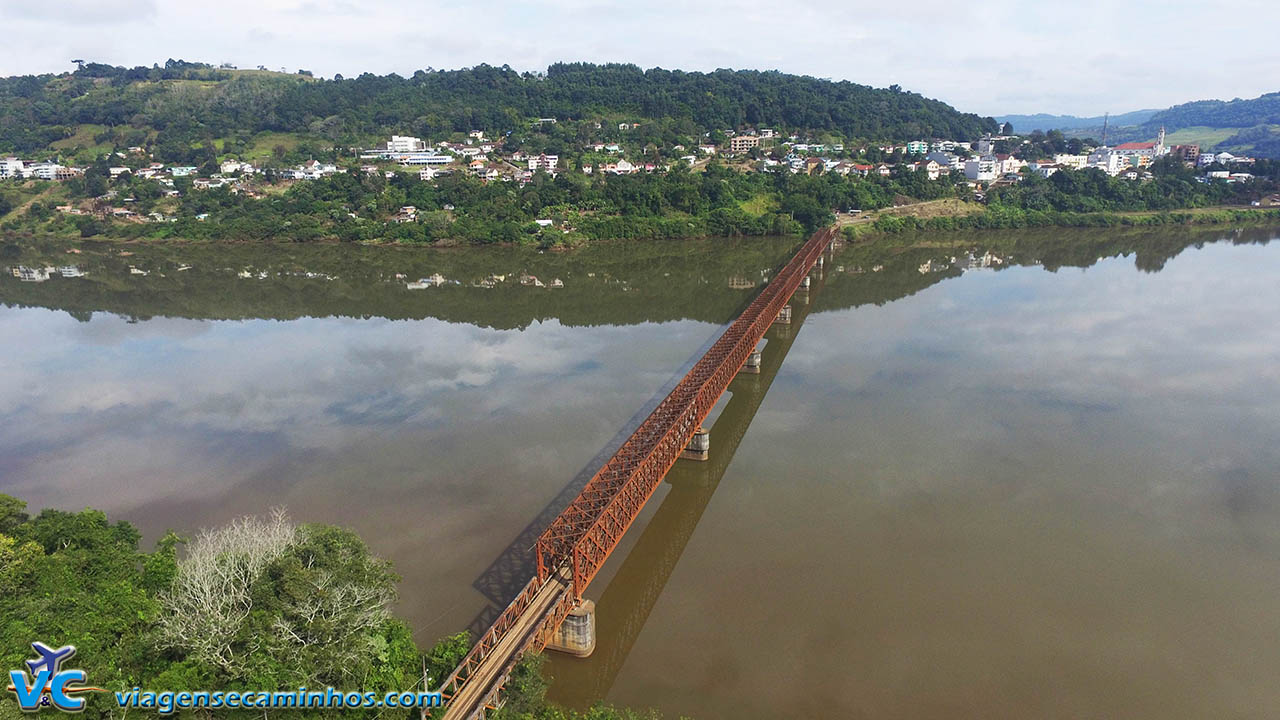 Vista aérea Ponte Rodoferroviária de Marcelino Ramos