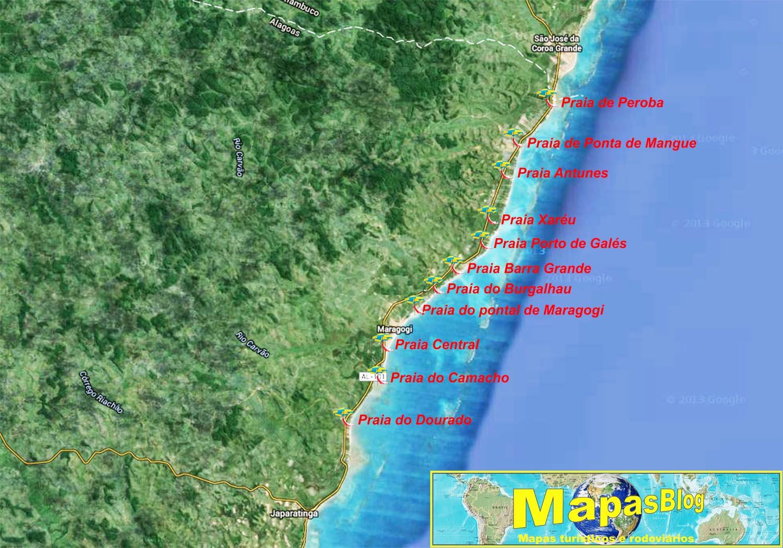 Mapa das praias de Maragogi