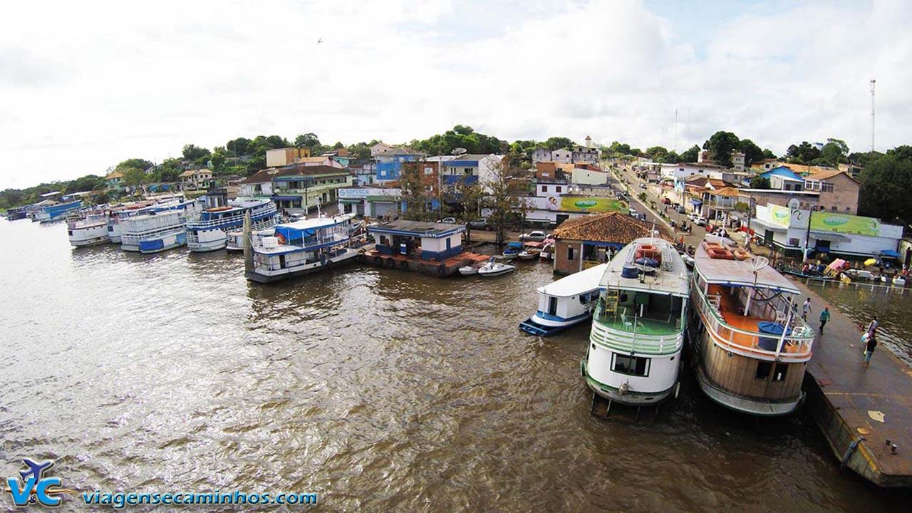 Porto de Juruti, no Pará, vista de cima do barco