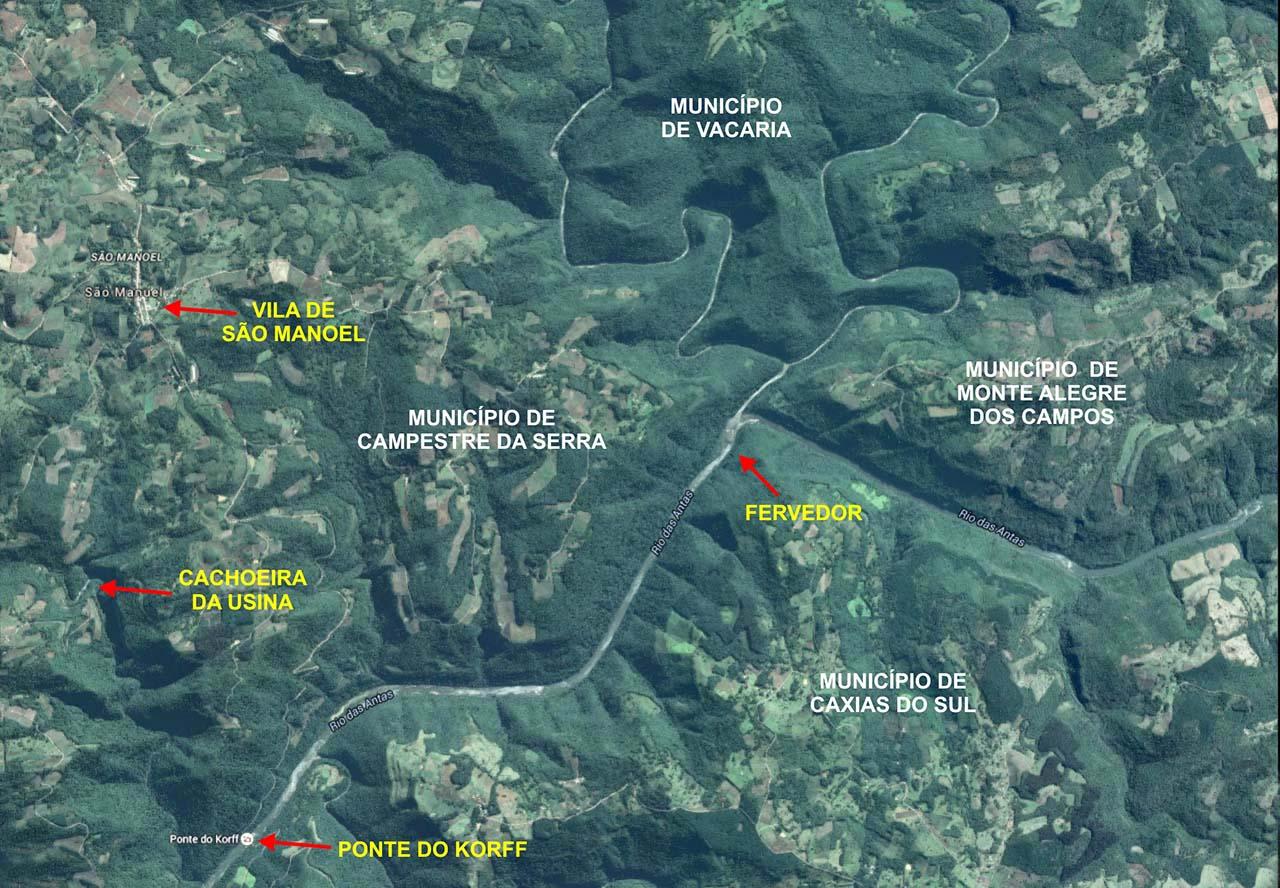 Mapa pontos turísticos de Campestre da Serra