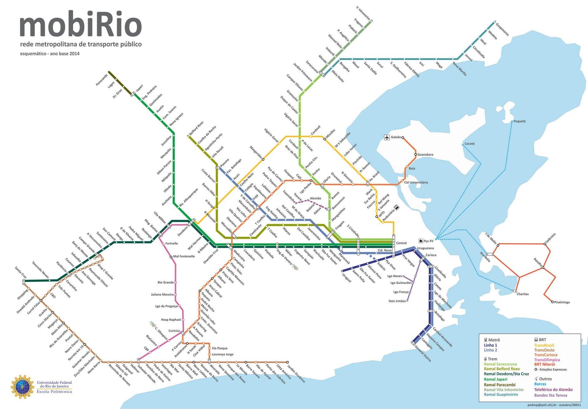 Mapa geral dos trens urbanos do Rio de Janeiro