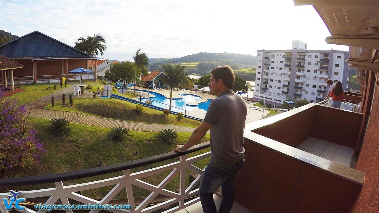 Varanda do Hotel Balneário, com vista para as termas