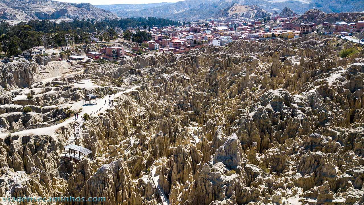 Vista aérea Vale da Lua - La Paz