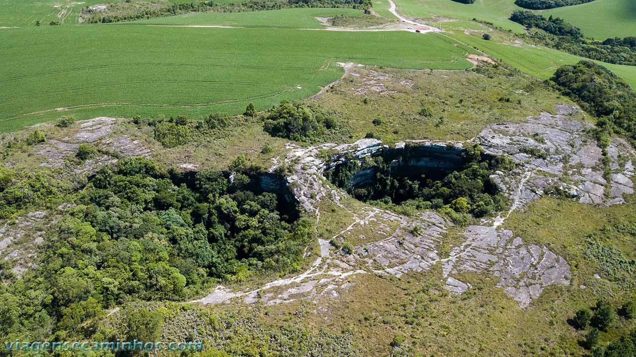 Vista aérea das Dolinas Gêmeas