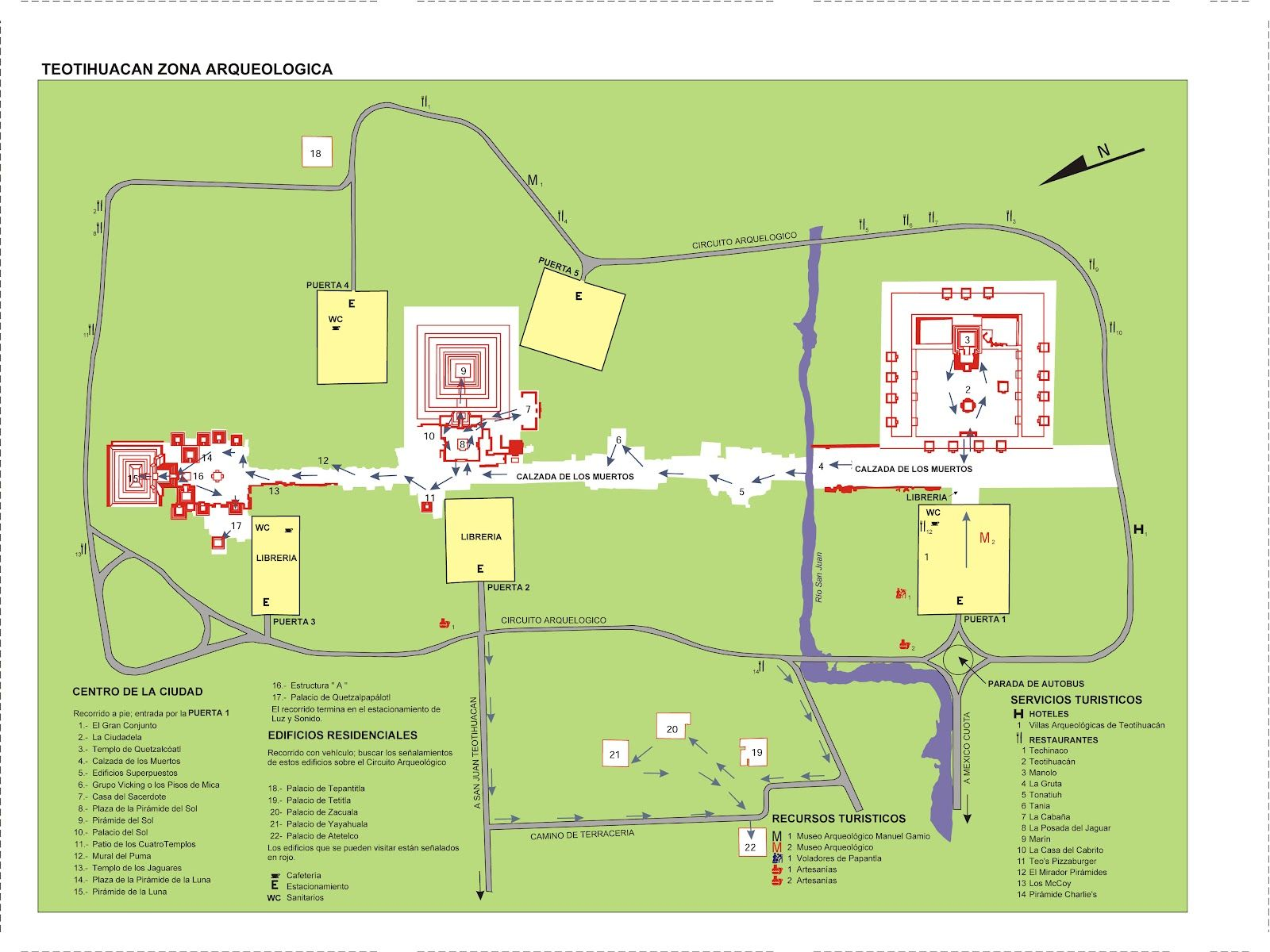 Mapa das Pirâmides de Teotihuacan