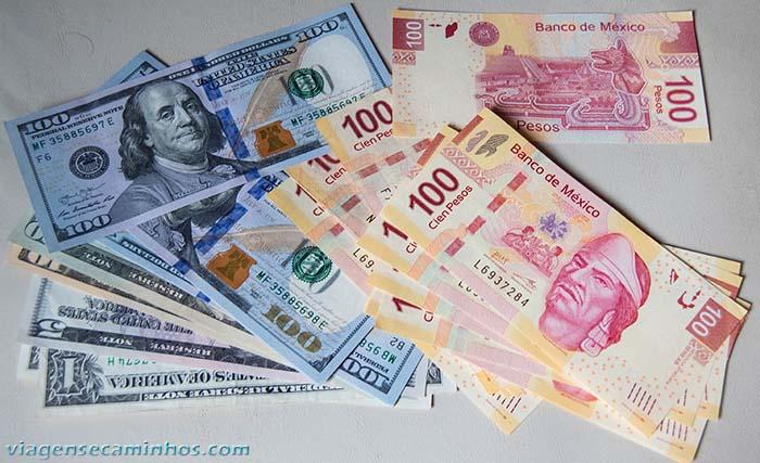 Dólares e Pesos Mexicanos
